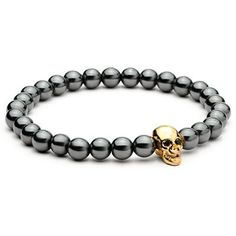 c3fe5a405 Black Hematite Stone Elastic Bead Bracelet With Skull Charm 4 Color *High  Quality*