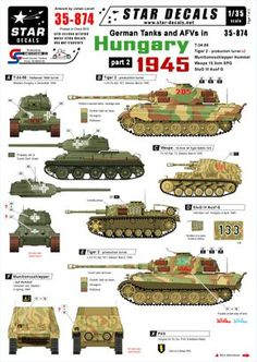 Star Decals, Decals for German Tanks in Hungary 1945 Army Vehicles, Armored Vehicles, Military Drawings, German Soldiers Ww2, Camouflage Patterns, Tiger Ii, Military Armor, Camo Designs, Tiger Tank