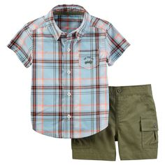 Just One YouMade by Carter's Baby Boys' 2 Piece Plaid Woven Set - Blue/Olive
