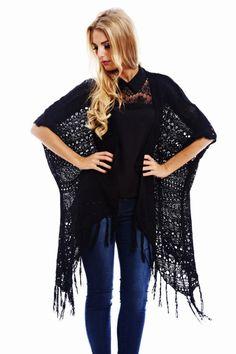black crochet cardigan http://shopmodmint.com/product/black-crochet-cardigan/