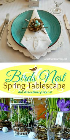 Bird's Nest Spring Tablescape | A Bird's Nest Themed Easter Table | Who would guess this bird's nest themed Easter table was set with dollar store plates and goblets? It's a beautiful table for any special spring meal.