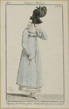 1813 Costume Parisien. Hat of full velvet. Redingote of silk, with shawl [collar].