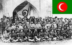 The Kingdom of Kurdistan (1922-1924) was a short-lived state proclaimed in the city of al-Sulaymāniyya following the collapse of the Ottoman Empire. The state is associated mainly with shaykh Mehmûdê Berzencî, who revolted against the British after the Treaty of Sèvres (1920). The colors of the flag are a white crescent inside a red orb on a green background. Due to the Islamic background of the state, the pre-Islamic color yellow has been omitted (like the Islamic Republic of Iran's flag… Kurdistan, Ottoman Empire, Green Backgrounds, Color Yellow, Persian, Islamic, British, Flag, History