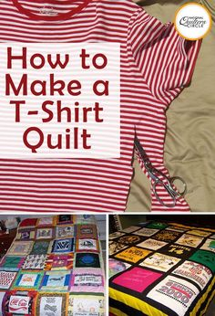Quick and Easy T-Shirt Quilt Tutorial If you have a pile of clothing and T-shirts that have special meaning but don't really know what to do with them, a T-shirt quilt may be the perfect solution. Not only will you get to revisit some old favorites as you Sewing Hacks, Sewing Tutorials, Sewing Tips, Sewing Ideas, Crazy Quilt Tutorials, Sewing Lessons, Dress Tutorials, Quilting Tutorials, Sewing Patterns Free