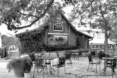 View of The Gallery while sitting on the patio of The Stone Cellar in Round Top, Texas.
