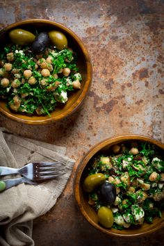 Mediterranean eggplant and chickpea salad with feta and parsley   Healthy Seasonal Recipes