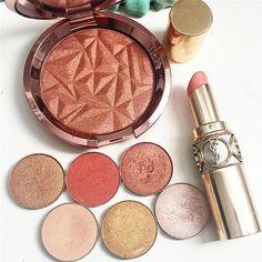 Feeling peachy! Becca Cosmetics Skin Perfector in Blushed Copper as a blush   Makeup Geek shadows   YSL lipstick