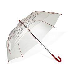 Rainy Parapluie transparent avec manche rouge