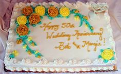 50th Wedding Anniversary Gourmet Bakery, 50th Wedding Anniversary, Specialty Cakes, Happy Mothers Day, Birthday Cake, Sweet, Desserts, Birthday Cakes, Gold Weddings