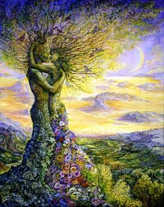 .:.Nature's Embrace by Josephine Wall.:. On a magical twilight night, high above the golden moonlit landscape, two trees embrace in a demonstration of perfect love. Their roots entwined, and birds singing joyfully in their branches, they give us all a lesson on how we should treat our precious earth. If only we could all embrace each other in such perfect harmony.