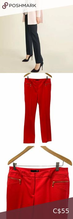 """Laura RED Modern Fit Straight Leg Pants These are gorgeous bright red pants by Laura. Modern fit, with straight legs, gold tone front pocket zippers and no back pockets. Belt loops and hidden zipper and button make them extra! 3% Spandex so they have stretch! Get them in your bundle with a blouse and heels for an amazing closet discount! Size 8 16.5"""" Across at Waist 9.5"""" Rise 21.5"""" Across at Hips 12"""" Across at Thigh 33"""" Inseam 69% Polyester 28% Rayonne 3% Spandex Laura Pants & Jumpsuits… White High Waisted Jeans, High Waist Jeans, Grey Dress Pants, Red Pants, Grey Slacks, Blue Camo, Scrub Pants, Pants Pattern, Straight Leg Pants"""