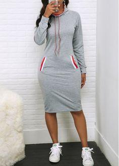 Hooded Collar Long Sleeve Grey Sheath Dress | modlily.com - USD $26.69 Women's Fashion Dresses, Sexy Dresses, Casual Dresses, Dresses With Sleeves, Sheath Dresses, Fashion Top, Sleeve Dresses, Fashion Edgy, Dresses Dresses