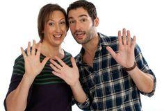 Miranda Hart & Tom Ellis in Miranda sitcom