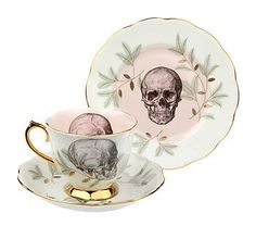Upcycled Skull Design Vintage Teacup  by Melody Rose