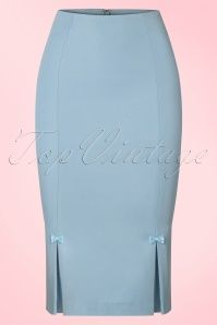 Dancing Days by Banned Baby Blue Pencil Skirt with Bows 120 30 21507 20170508 0004w