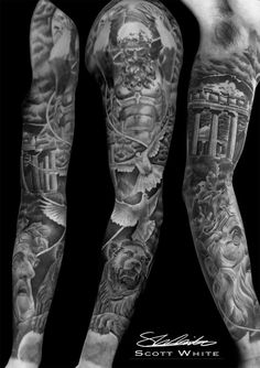 Completed Greek God sleeve done by Scott. To see more of Scott's work or to book a consultation follow the link. #tattoo #tattoodesigns #tattooartists #greekgodsleeve #fullsleevetattoo #blackandgrey #realism #greekmythology