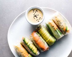 Grab the smoked salmon from the fridge and roll it up in rice paper with avocado, cucumber and sprou... - I Am A Food Blog