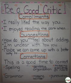 Education to the Core: Anchor Charts | Education to the Core Be A Good Critic Anchor Chart, good for class discussions and peer conferencing