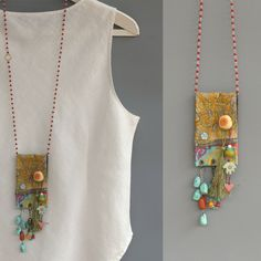 Upcycled fabric Jewelry, Bohemian Jewelry, Vintage Hindu textile necklace, OOAK door ATLIART op Etsy https://www.etsy.com/nl/listing/224982886/upcycled-fabric-jewelry-bohemian-jewelry
