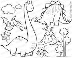 coloring pages - Pterodactyl, Stegosaurus, Brachiosaurus Clipart Dinosaur Birthday Invitation Party Hand Drawn Doodle, great for Back To School Use 10055 Dinosaur Coloring Pages, Colouring Pages, Dinosaur Birthday Invitations, Applique, Animal Doodles, Flower Doodles, Doodle Flowers, Digi Stamps, Drawing For Kids