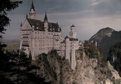 A view of the grand white castle of Schloss Neushwanstein in Germany, 1925.