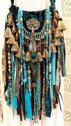 Handmade Velvet Ibiza Festival Fringe Bag Gypsy Hippie Boho Artisan Purse tmyers #Handmade #MessengerCrossBody