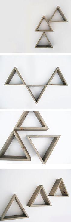 Triangle Shelf Set of 3 - Shadow box shelves - Barnwood Grey Wash - Ready to ship