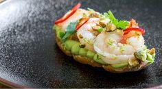Make this healthy recipe for a tasty app or delicious snack. Avocado Bruschetta Recipe, Shrimp Bruschetta, Grilled Shrimp, Shrimp Recipes, Appetizer Recipes, Salad Recipes, Appetizers, Appetizer Ideas, Yummy Snacks