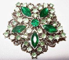 Green Rhinestone Snowflake Brooch Pin by BrightgemsTreasures