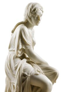 RUTH-Giovanni Battista Lombardi 1823-1880 ITALIAN signed and dated: GB. Lombardi. f. Roma. 1864 white marble on a veined white marble column statue (inc. thin base): 117cm., 46in.Commissioned in 1859 by contessa Marietta Mazuchelli Longo, Lombardi's Ruth was the first of the artist's Old Testament subjects; a series which also included his Rebecca, Deborah, Susanna and Sulamite.