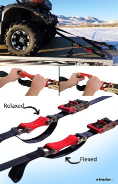 This tie-down kit is perfect for strapping down your ATV. It includes 4 ratchet straps that can be used to strap down your vehicle to your truck bed or trailer. It also includes 8 strap latches to prevent the hooks from slipping off of the anchor points if the tie-downs go slack as you tighten your load, or if the load shifts while traveling.