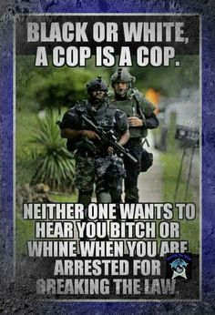 Black or white.. purple great blue.. whatever...don't break the law!!