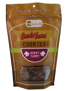 Yummy Sam's Yams Berry Yammy flavor.  http://www.organicbullies.com/categories/natural-dog-treats/sweet-potato-treats.html