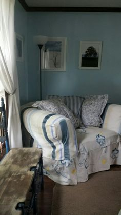 My fave overstuffed chair diy, hand painted canvas slipcover