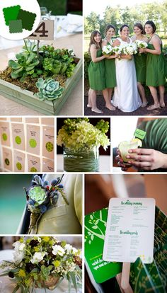 Classic Color Idea: Hunter green    Perfect Pairings: Tan, brown, white, plum, navy.    Timeless Tip: Perfect for a tropical-destination wedding, let your floral arrangements carry the bulk of this nature-inspired palette to avoid overwhelming the space.