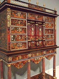 Cabinet on Stand by Pierre Gole French 1660 Ebony kingwood tortoiseshell ivory gilt bronze – French Antiques Furniture Ads, French Furniture, Antique Furniture, Painted Furniture, Furniture Design, Furniture Cleaning, Style Français, Chateau Versailles, Louis Xiv
