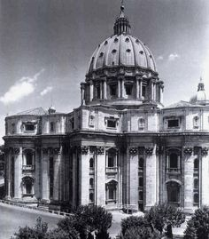 St. Peter's, exterior with dome, Michelangelo (from 1646), completed by Giacomo Della Porta.
