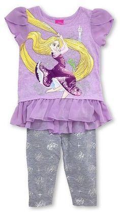 Tangled Rapunzel Toddler Girls' Tunic and Capri Pant Set Purple/Gray Toddler Pants, Toddler Girl Outfits, Toddler Girls, Baby Girls, Baby Baby, Tangled Rapunzel, Disney Tangled, Cute Fashion, Girl Fashion