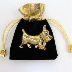 Vtg Napier Dog Brooch Pin Brushed Goldtone Rhinestone Figural Signed Designer  #Napier