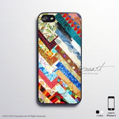 iPhone 5 case, Unique iPhone 4 case, iPhone 4s case, case for iPhone 4, Colourful geometric fabric collage S476