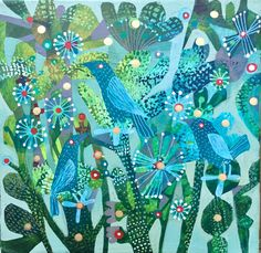 A personal favourite from my Etsy shop https://www.etsy.com/uk/listing/480850167/blue-starlings-an-original-este-macleod
