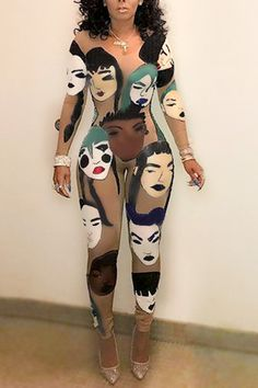 d5c5195651ec Euramerican Round Neck Long Sleeves Head Portrait Printed Qmilch One-piece  Skinny Jumpsuits