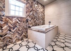 """This custom bathroom features a Seine water jet mosaic floor shown in Ivory Cream and Saint Laurent with 3""""x 12"""" Lavastone bricks and 3""""x 12"""" Ivory Cream bricks.<br /> -photo courtesy of Mediterranean Tile Marble; medtile.com<br /> <br /> For pricing samples and design help, click here: http://www.newravenna.com/showrooms/"""