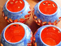 Hand painted ceramics by Pam Smith : Hand painted Tea lights with poppies. Hand Painted Ceramics, Ceramic Painting, Orange, Yellow, Punch Bowls, Tea Lights, Poppies, Red, Hand Painted Pottery
