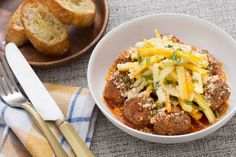 Spiced Meatballs with Garlic Toasts & Summer Squash Salad. Visit https://www.blueapron.com/ to receive the ingredients.