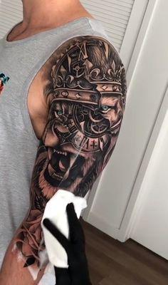 Lion tattoo - Lion tattoo on upper arm - Quarter Sleeve Tattoos, Half Sleeve Tattoos For Guys, Full Sleeve Tattoos, Best Sleeve Tattoos, Tattoo Sleeve Designs, Forearm Tattoo Men, Tattoo Designs Men, Man Sleeve Tattoo Ideas, Best Tattoos For Men