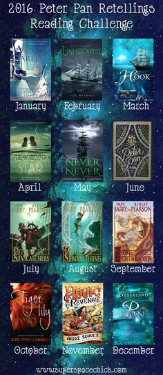 Peter Pan Reading Challenge 2016 - Books inspired by Peter Pan - Peter Pan, TinkerBell, Captain Hook, Tiger Lily, Wendy Darling, Colleen Oakes, J.M. Barrie, Peter and the Starcatchers, Jodi Lynn Anderson, Second Star, Never Never, Brianna Shrum, Unhooked, Lisa Maxwell, Hook, K.R. Thompson, Peter and the Shadow Thieves, Peter and the Secret of Rundoon, Heidi Schultz, Hook's Revenge