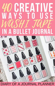 The 40 best creative ways to use up washi tape in your bullet journal, from washi tape swatches to covering mistakes. #washitapebulletjournla #washitapeuses #bulletjournal #bujo #bulletjournalideas Washi Tape Uses, Washi Tape Storage, Washi Tape Wall, Washi Tape Crafts, Bullet Journal Washi Tape, Bullet Journal Printables, Bullet Journal Hacks, Bullet Journals, Washi Tape Planner