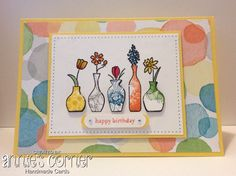 Birthday card using Stampin Up Vivid Vases, Happy Watercolour, Teeny Tiny Sentiment stamp sets, & Watercolour Wonder dsp.
