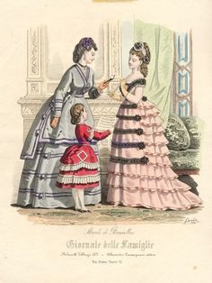 1871 Italy, Ballgown and walking dress.